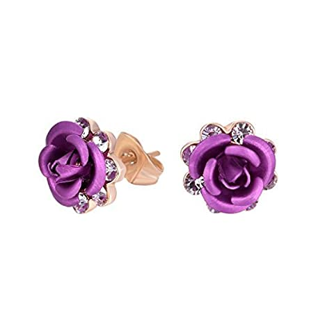 Yoursfs Dainty Stud Earrings for Women Purple Rose Flower Dress Jewellery 18ct Rose Gold Plated Bride Earrings Cocktail Party