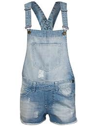 Neue Damen dehnbar Dungaree Shorts Klammern Hot Pants ein Stück Frauen Sexy Playsuit