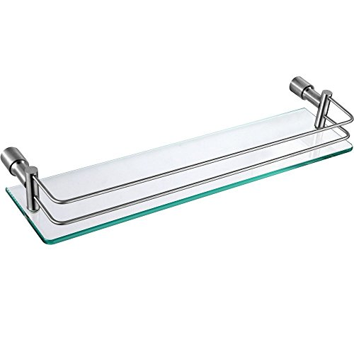 Kes mensola in vetro bagno montaggio a parete, sus 304 acciaio inox, spazzolata, a21120a-2