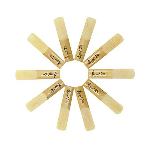 GESUND 10 stücke Drop B Sopransaxophon Blätter Stärke 2,5 Bambusklarinette Teile mit Aufbewahrungsbox für Musikinstrument -