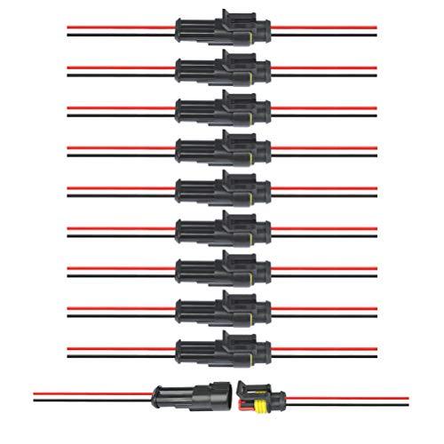 YOTINO-10PCS-2-Pin-Connettore-Elettrico-Impermeabile-Spina-con-Filo-Auto-Electrical-Connector