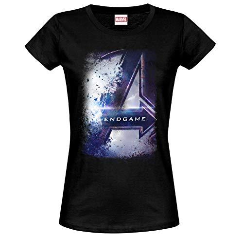 Avengers Damen T-Shirt Endgame Bursted Logo Marvel Baumwolle schwarz - M