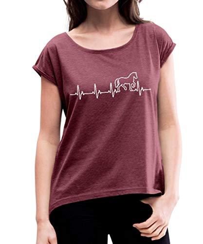 Spreadshirt Pferd Silhouette EKG Herzschlag Pferdesport Frauen T-Shirt mit gerollten Ärmeln, S (36), Bordeauxrot meliert