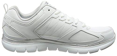 Skechers Flex Appeal 2.0-Good Time, Formatori Donna, Bianco (White/Silver), 36 EU