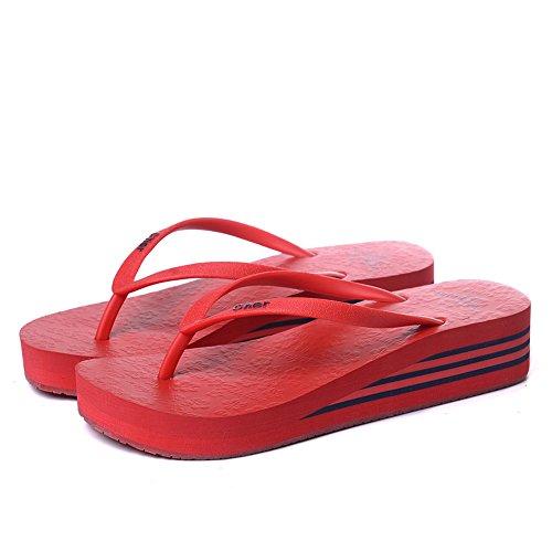 Estate Sandali Sandali estivi multicolori Pantofole antiscivolo in plastica femminile Nero, Blu-1, Blu-2, Marrone, Rosa, Rosso, Giallo Colore / formato facoltativo Rosso