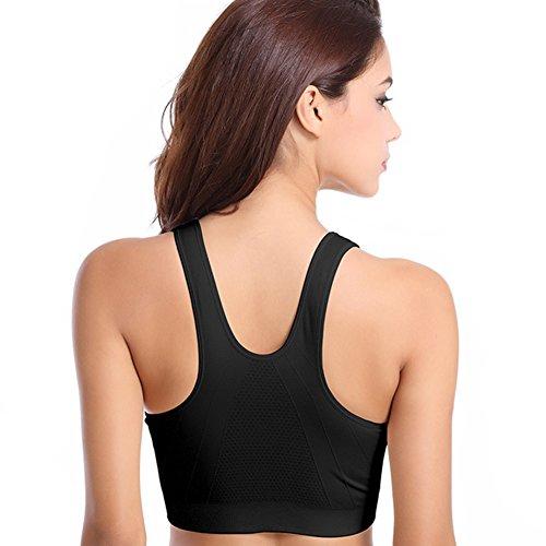 zrong Yoga Pantalon de sport Course à Pied Jogging Fitness Zip Soutien-gorge pour femme Black