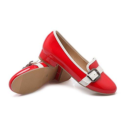 AgooLar Damen Ziehen Auf Rund Zehe Niedriger Absatz Gemischte Farbe Pumps Schuhe Rot