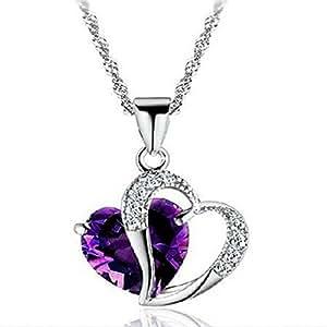 Rhodié argent femmes Accent coeur améthyste Pendentif Diamant Collier Chaîne Argent comprend 18'' correspondant de la chaîne-violet