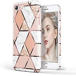 DOUJIAZ® Coque en Silicone TPU Souple avec Paillettes Brillantes pour iPhone 7, iPhone 8, iPhone 6, 6S (Grille Or Rose) Rose Gold Grid
