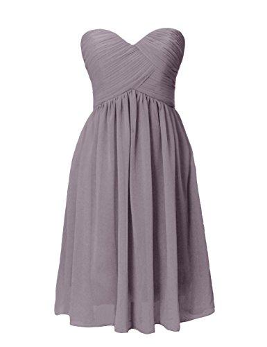 Dresstells Brautjungfernkleid Knielang Herzförmig Chiffon Sommerkleid DT90251 Grau