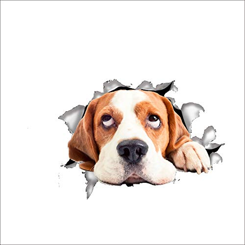 Ouken 21 * 15 cm Wand Aufkleber 3D Hund gebrochen dekorative Wandbild abnehmbare Wandtattoo