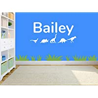 Personalised Dinosaur Name Wall Sticker, Any Name, Any Colour, Childs Bedroom