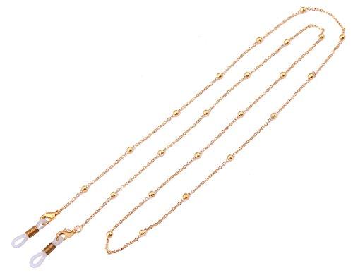 LIKGREAT Schlüsselanhängerform Ketten Frauen Perlen Lesebrille Bindekordeln Sonnenbrille Gurt Gold, White Connector