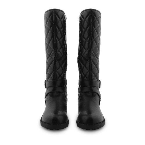 Damen Reitstiefel, kniehoch, Schnalle Absatz gesteppt Winter Stiefel, Casual Damen Elegante Ohrstecker Mädchen Reiter UK 3-8 Black Chain