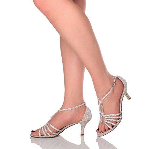 Ajvani Femmes Moyen Talon Élégant de Mariée t-Bar Lanières Sandales Chaussures Pointure Beige Or