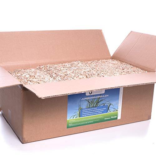 Jumbogras® Rindenmulch-Alternative: Garten-Mulch aus Miscanthus/Chinagras/Elefantengras-Häcksel für Pflegeleichte Gärten/Gartengestaltung/Gartenpflege (170-Liter-Karton)