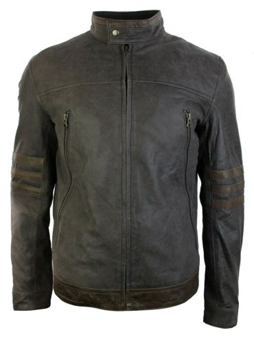 Mens Biker Brown Vintage Real Leather Jacket X-Men Origins Wolverine Logan