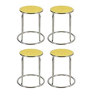 Fabsy Interiors Steel Stool (Yellow) – Set of 4 pcs