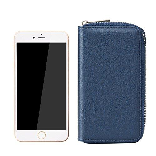 Bangbo Premium in pelle PU con doppia cerniera portafoglio borsetta borsa di denaro custodia organizzatore del supporto per telefono cellulare iPhone 7/7Plus/se/6s/6Plus/5S e Samsung Galaxy S8/8Plu Blue