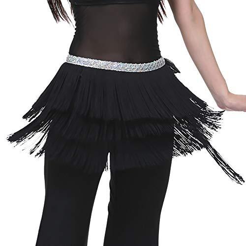 Rosennie Damen Bauch Tanzen Damen Karneval Bauchtanz Rock Schal Gürtel Oriental Dance Fransen Quaste Dance Kostüm Bauchtanz Hüfttuch Dreischichtige Quaste Taille Kette Gürtel Schal ()