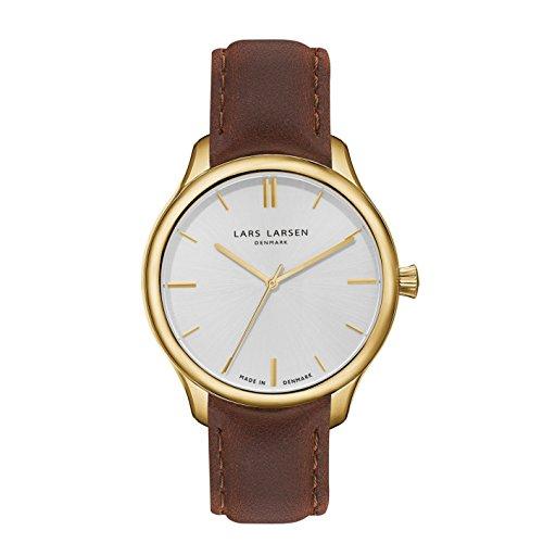 Lars Larsen LW20hommes de montre à quartz avec Marron Cadran Blanc Affichage analogique et bracelet en acier inoxydable 120GBBL