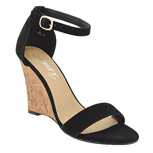 Essex Glam Sandalo Donna Sintetico Tacco a Cuneo Cinturino Caviglia Nero Finto scamosciato