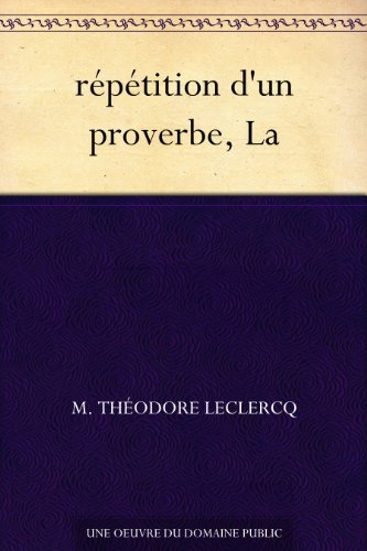 Couverture du livre répétition d'un proverbe, La
