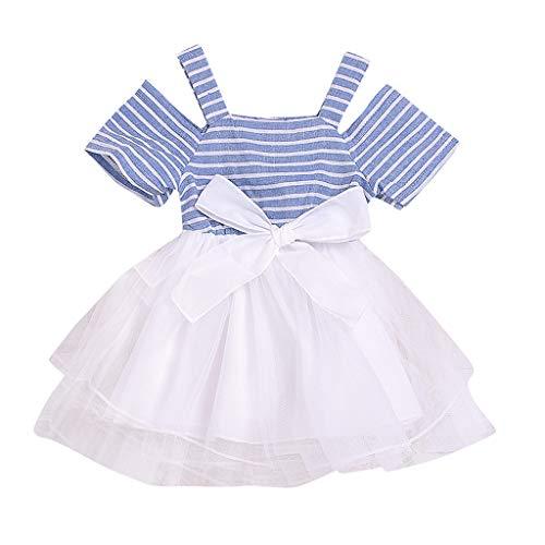 LEXUPE Baby Kinder Mädchen Schulterfrei Streifen Patchwork Tüll Kleid Party Prinzessin Kleider(Blau,90) (Kleid Kitty Jeans Hello)