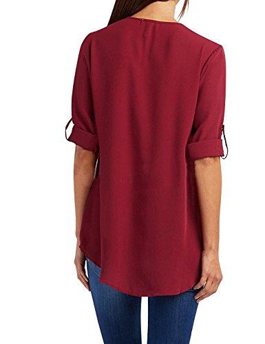 31e0db08d078 ... Eleganti Casual T-Shirt Taglie Forti Sciolto Bluse V Scollo Pullover  Puro Colore Tops Camicetta Maglie Moda Felpe (Rosso