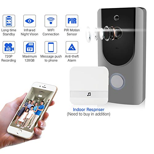 HUIGE WiFi Wireless Video Doorbell, Battery Powered, Night Vision, Real-Time Two-Way Talk and Video, 720P HD Video, PIR Motion Detection Batterie-powered-video