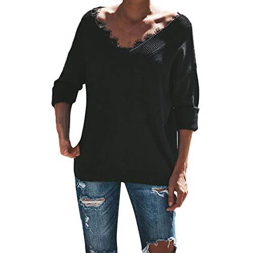 Femmes Sexy col en V Pull Pull tricoté pour femme Manches longues en dentelle Splicing Courroie en tricot TOPS Chemisier