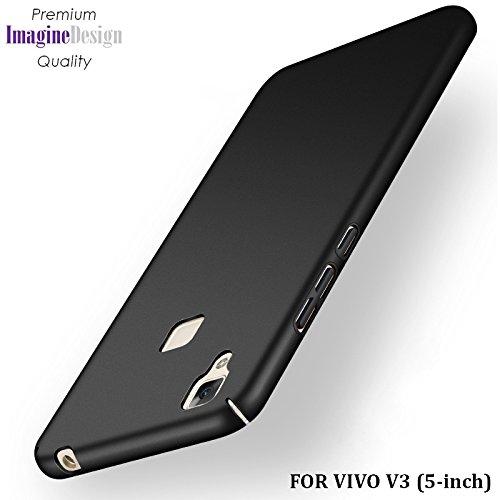 "Wow Imagine All Sides Protection ""360 Degree"" Sleek Rubberised Matte Hard Case Back Cover For Vivo V3 - Pitch Black"