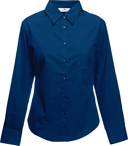 Fruit of the Ladyfit popeline chemise à manches longues Loom Bleu Marine
