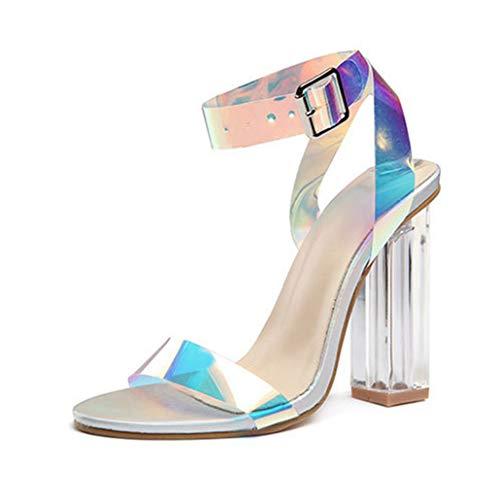 5010da0e Sandalias de Verano para Mujer Zapatos de tacón Alto Brillantes Zapatos de  Cristal talón con Punta