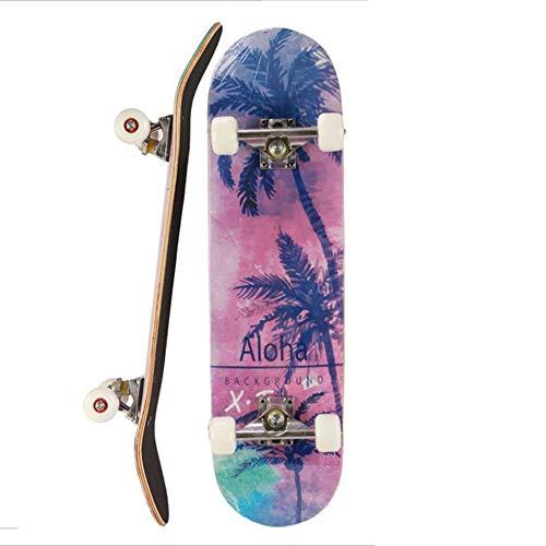 Hfudgj Skateboard 31 x 8 inch Professionelles Skateboard, Double Kick Concave Design 7-lagiges kanadisches Ahornholz Adult Tricks Skateboard für Anfänger ab 5 Jahren, Kinder, Jungen, Mädchen,F