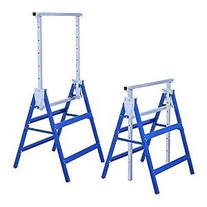 AUFUN – 2 andamios con altura regulable de 80 a 130 cm – Caballete telescópico de trabajo plegable de metal para albañilería, soporta hasta 200 kg