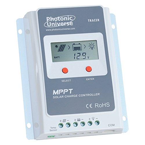 Photonic Universe 10A MPPT Solar Charge controller/regolatore con il sistema di batteria con display LCD per pannelli solari fino a 130W (12V)/260W (24V batteria sistema) fino a 100V