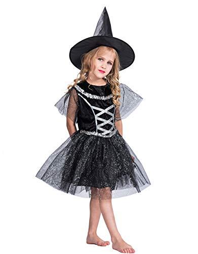 Minizone Mädchen Halloween Kostüme, Kleid mit Hut 2er Pack Party Kleidung Hexe Cosplay Outfit Set, S