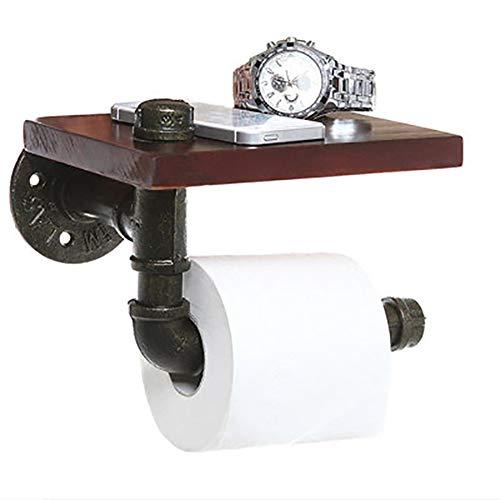 HCDMRE Holz-Vintage Industrielle Pipe Toilettenpapier-Wall montierte Retro Toilettenhalter, Bad Zubehör Retro Schmiedeeisen-Tudel-Regal hängende Regal -