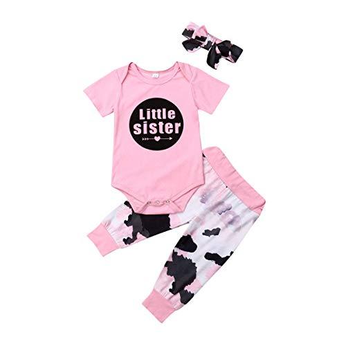 Kinder-tinte Kleidung (WANGSAURA 3 Pcs Neugeborenes Baby Mädchen Baumwolle Outfits Little Sister Strampler Kleidung Kleine Schwester Tops + Tinte Muster Hosen mit Stirnband)