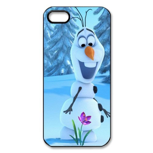 Apple iPhone 5/iPhone 5S Case Cover Étui - Disney Frozen, Elsa, Anna, Olaf TPU Étui Coque de Protection pour iPhone 5 5S (Blanc/Noir)