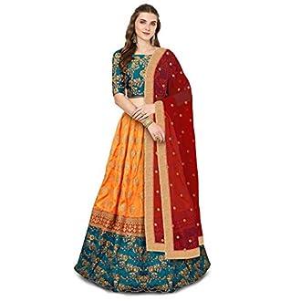 Zeel Clothing Women's Silk Lehanga Choli (ZC7001 _Green_ Free Size)