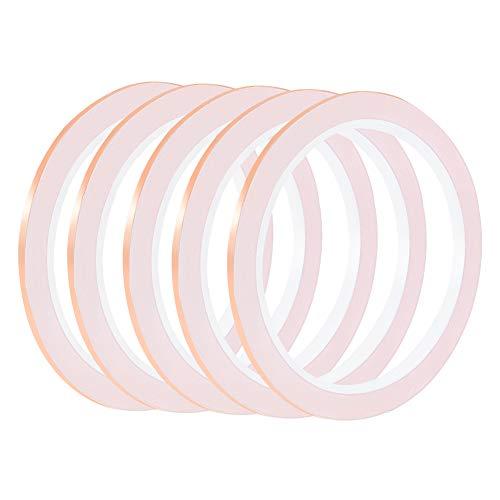 5 rollos de cinta de lámina de cobre de 10 M x 3,2 mm con adhesivo conductivo doble para blindaje EMI, repelente de babosas, manualidades, reparaciones eléctricas