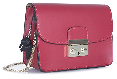 Big Handbag Shop borsa a tracolla piccola, in vera pelle italiana, clutch per feste, matrimoni. Red
