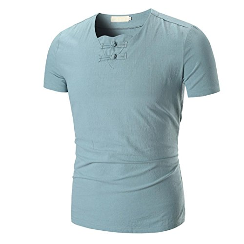 Leinen Shirt Männer Herren Einfarbig T-Shirt Top Bluse GreatestPAK,Grün,M (Grün Line Crew)