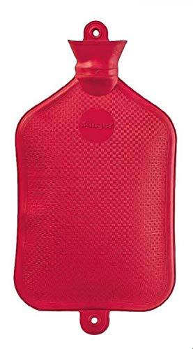 FabaCare Wärmflasche 3 Liter XXL, Naturgummi Wärmeflasche, extra groß, Gummiwärmflasche, Rot