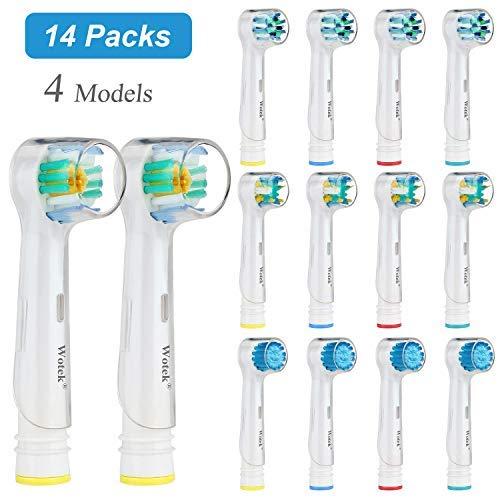 WOTEK Testine Ricambio Spazzolino Elettrico-Sensitive Clean x 4, Floss Action x 4, Precision Clean x 4, 3D White x 2,con Coperchio, 14 Pezzi