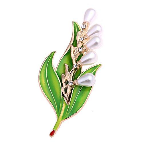 TOOGOO Mode Nachahmung Perlen Kristall Jahrgang Braut Emaille Blume Blatt Broschen Pin Fuer Schal Schnalle Kleidung Zubehoer
