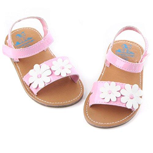 Janly Baby Mädchen stilvolle Blume Shoes Scarpe Haken und Flausch Outdoor-Schuhe Gold