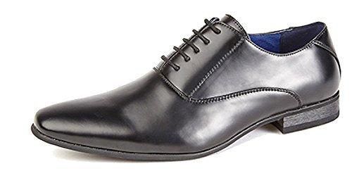 Herren 5 Öse Schlicht Oxford Krawatte Schuhe mit Lederfutter - Herren, Schwarz, EU 44 (Trek Oxford)